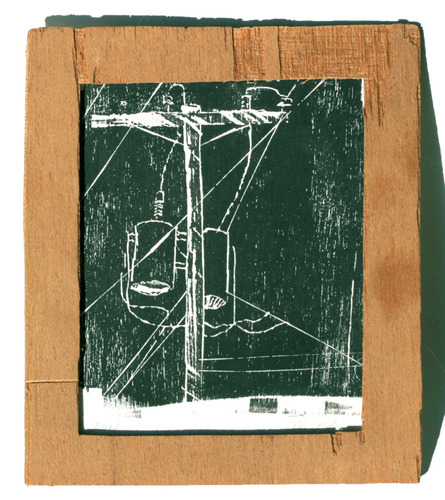 plywood relief print power lines