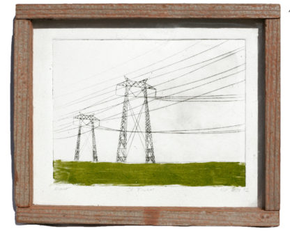 electrical towers etching printmaking
