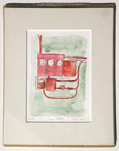 matted monotype on ink drawing industrial urban printmaking original art