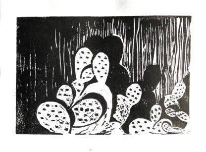 Cacti at Night Diana Kohne linocut withot a press